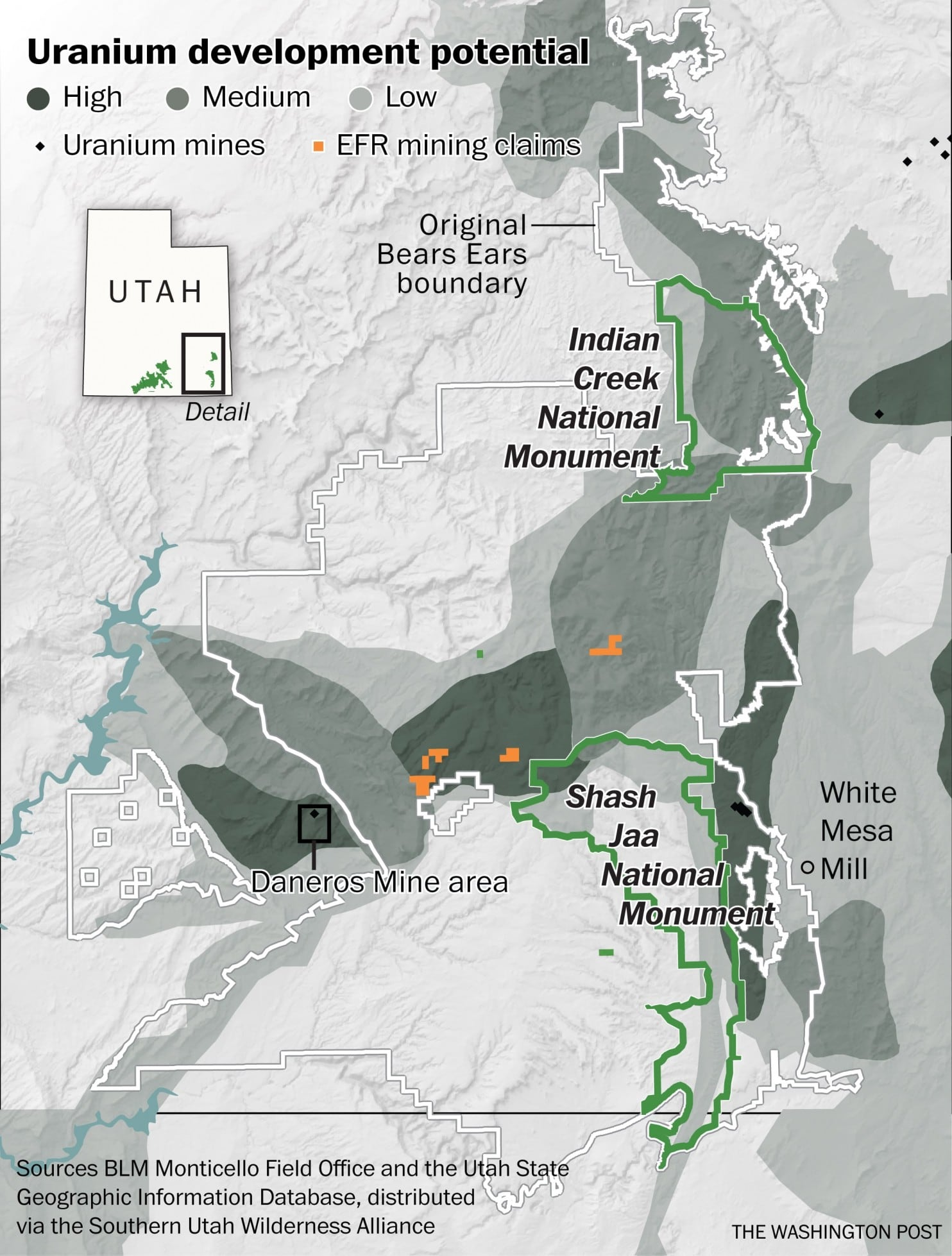Map of Uranium development potential in Bears Ears area, Washington Post